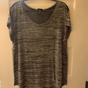 Torrid Grey Knit Top with Black Mesh